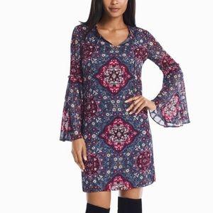 LONG BELL SLEEVE MEDALLION PRINTED SHIFT DRESS